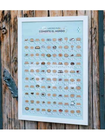 100 sabores para comerte el mundo - póster de rascar