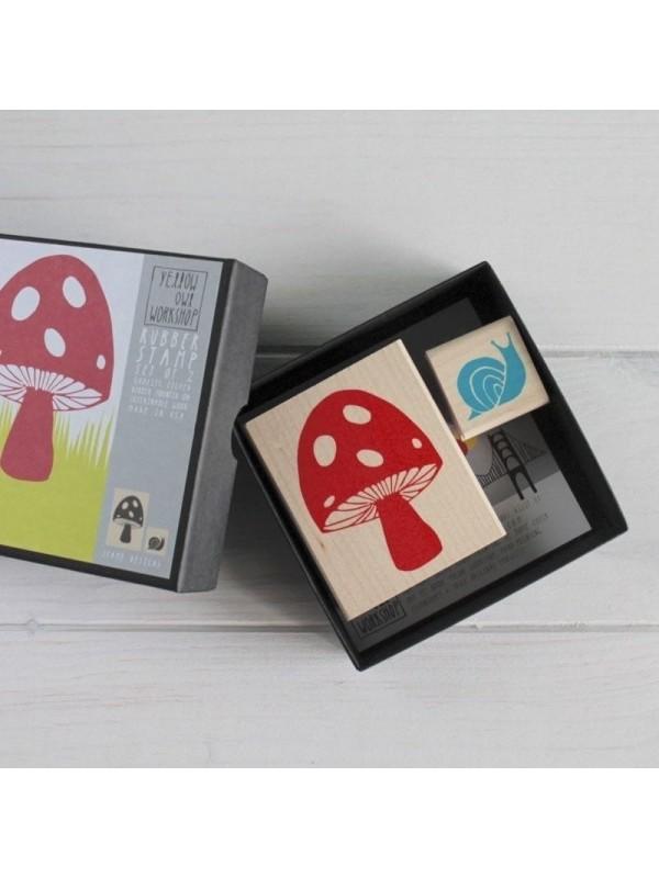 Kit de sellos de madera Seta y Caracol