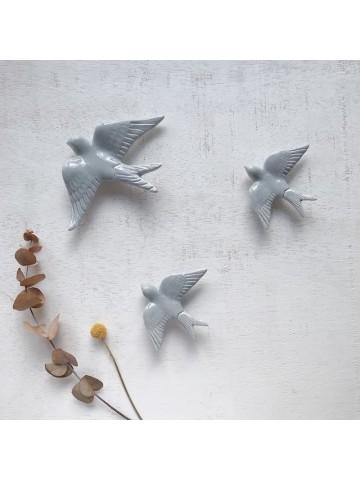 Golondrinas de cerámica artesanales Gris suave