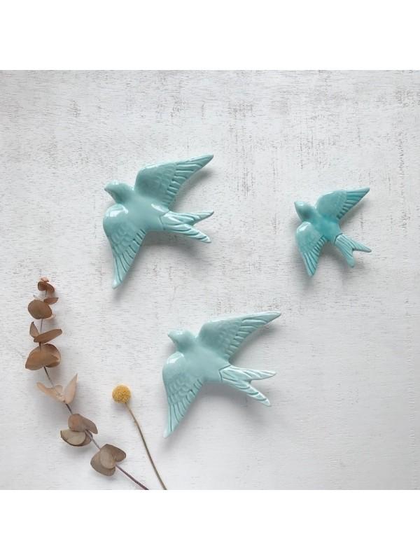 Golondrinas de cerámica artesanales Mint