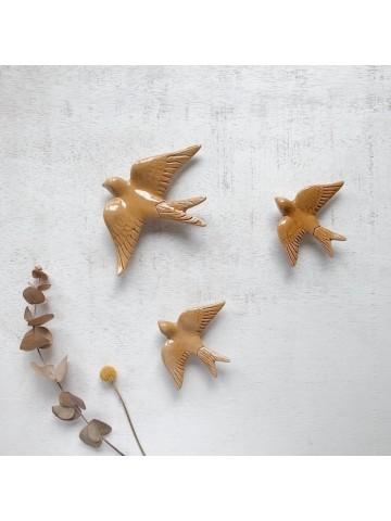 Golondrinas de cerámica artesanales Ámbar