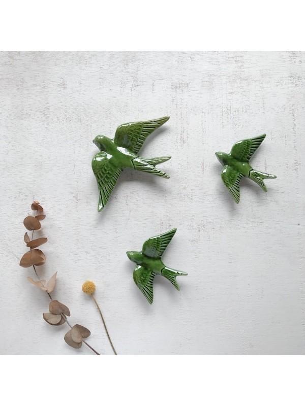 Golondrinas de cerámica artesanales Verde oliva