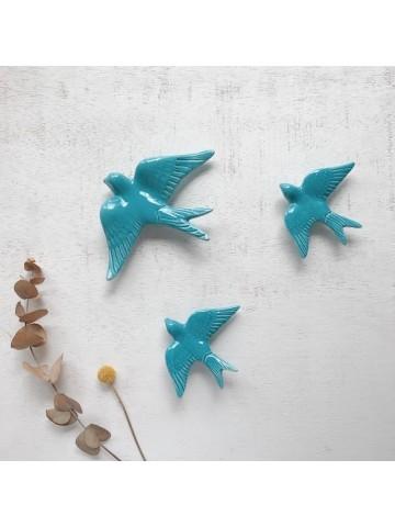 Golondrinas de cerámica artesanales Turquesa