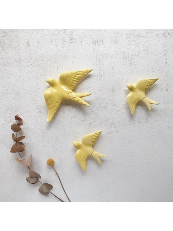 Golondrinas de cerámica artesanales Amarillo