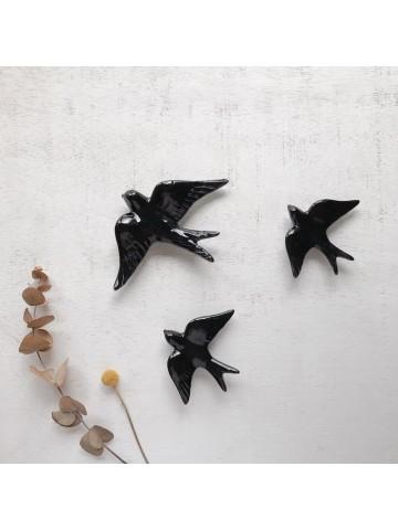 Golondrinas de cerámica artesanales Negro